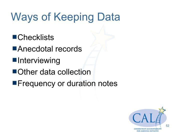 Ways of Keeping Data