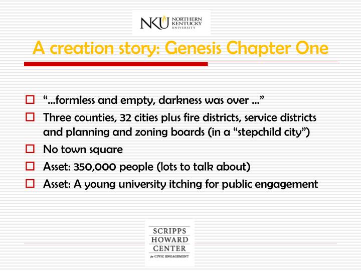 A creation story: Genesis Chapter One