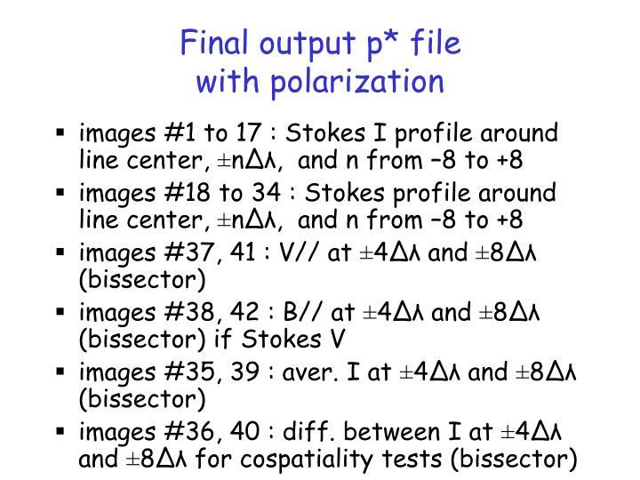 Final output p* file