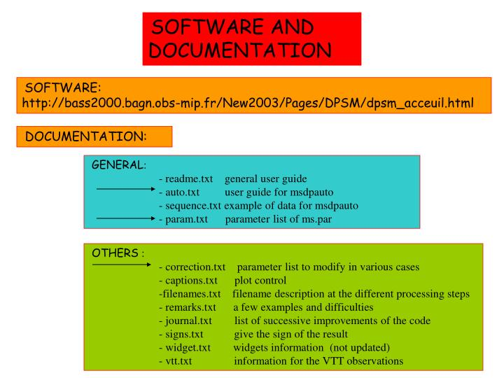 SOFTWARE AND DOCUMENTATION