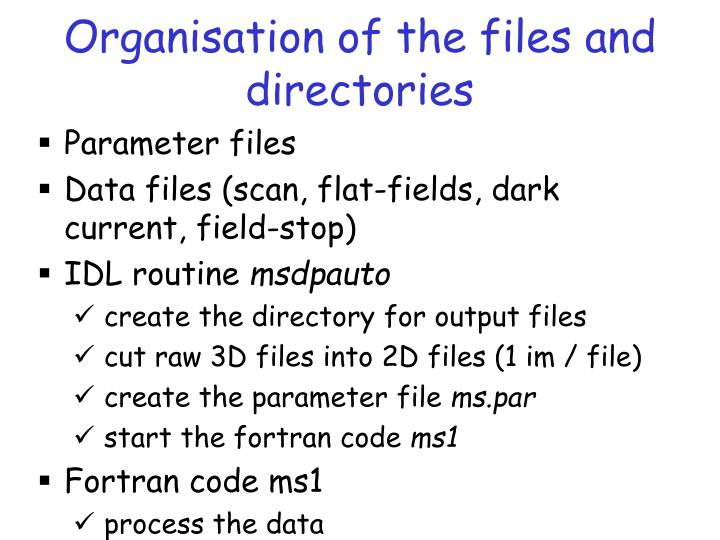 Organisation of the files and directories