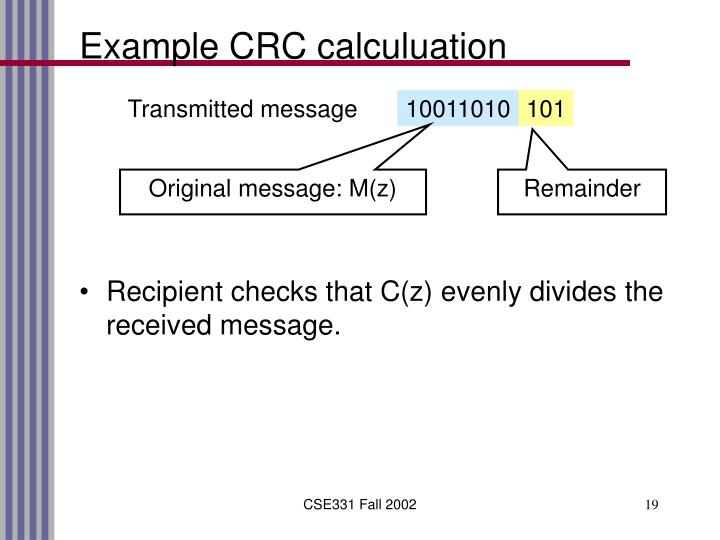 Example CRC calculuation