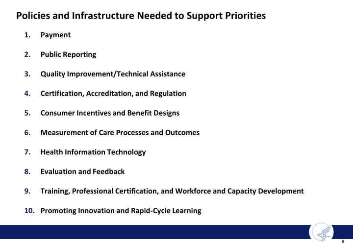 Policies and Infrastructure Needed to Support Priorities