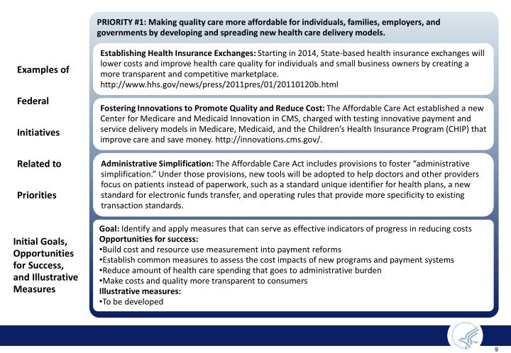 PRIORITY #1: Making quality care more affordable for individuals, families, employers, and governments by developing and spreading new health care delivery models.