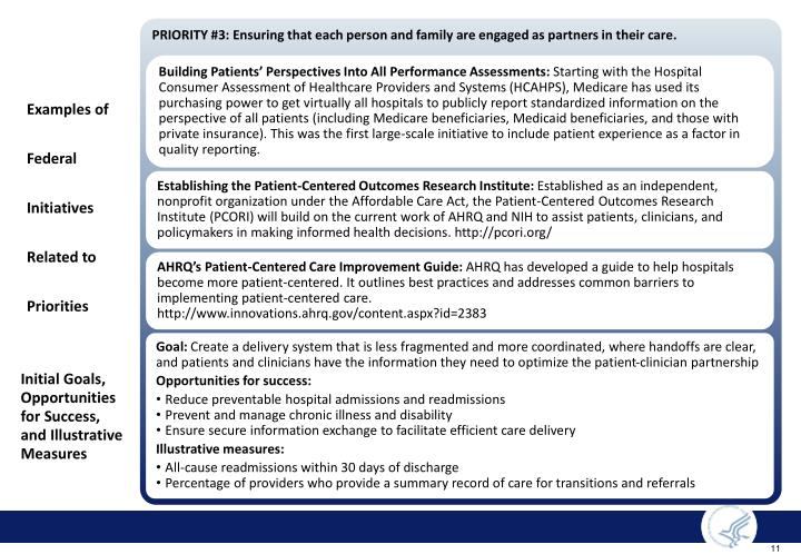 PRIORITY #3: Ensuring that each person and family are engaged as partners in their care.