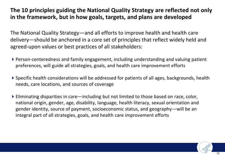 The 10 principles guiding the National Quality Strategy are reflected not only in the framework, but in how goals, targets, and plans are developed