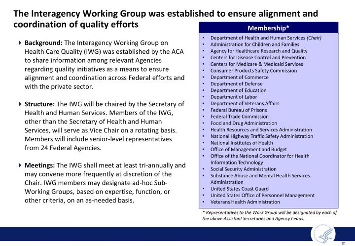 The Interagency Working Group was established to ensure alignment and coordination of quality efforts