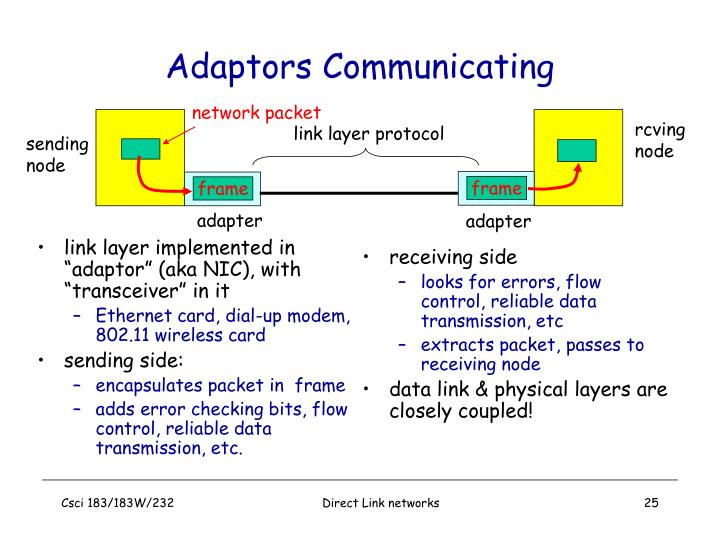 "link layer implemented in ""adaptor"" (aka NIC), with ""transceiver"" in it"