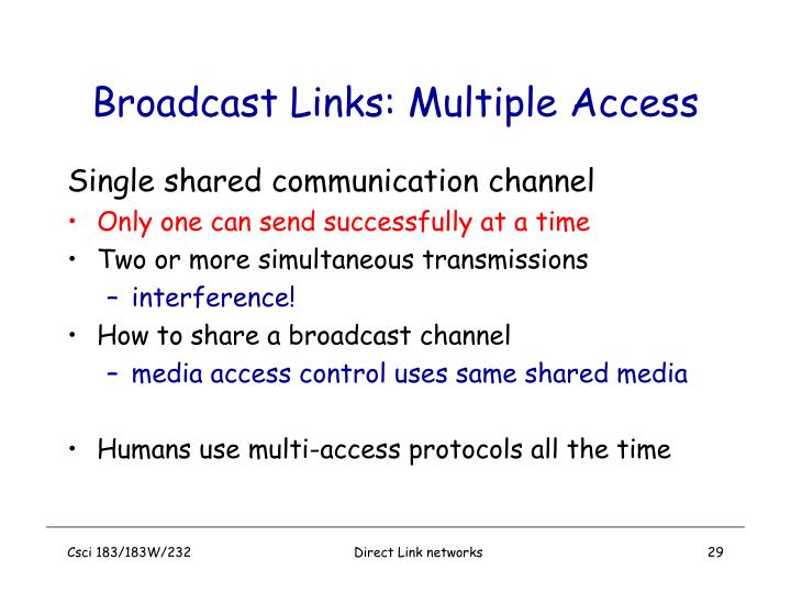 Broadcast Links: Multiple Access