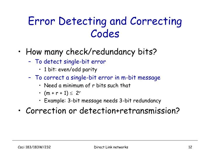 Error Detecting and Correcting Codes