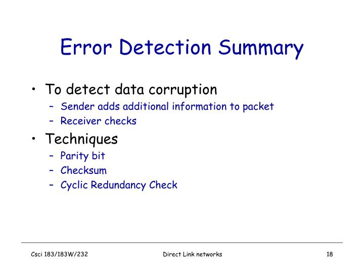 Error Detection Summary