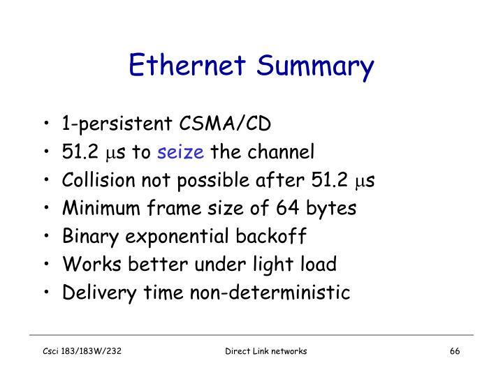 Ethernet Summary