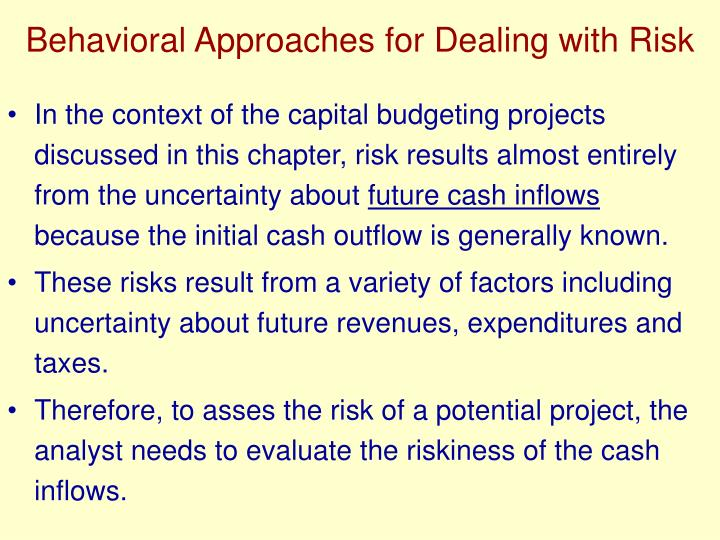 Behavioral Approaches for Dealing with Risk