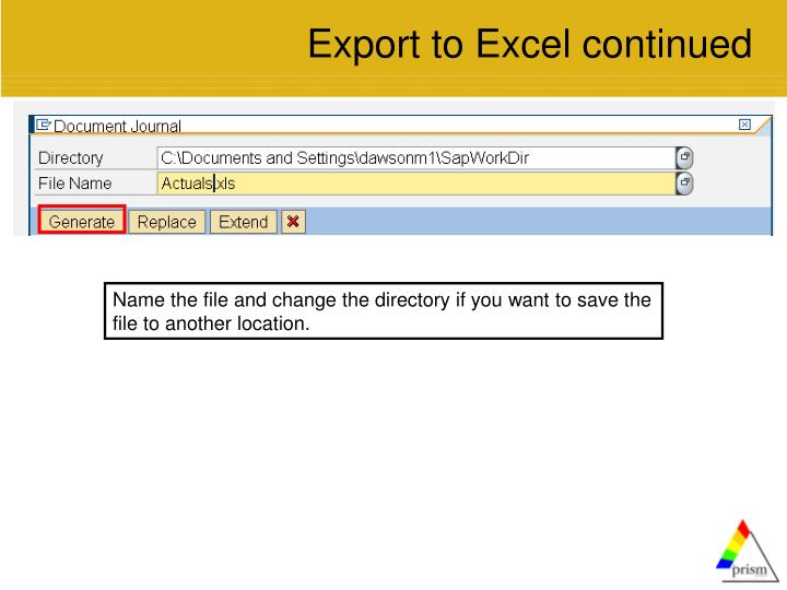 Export to Excel continued