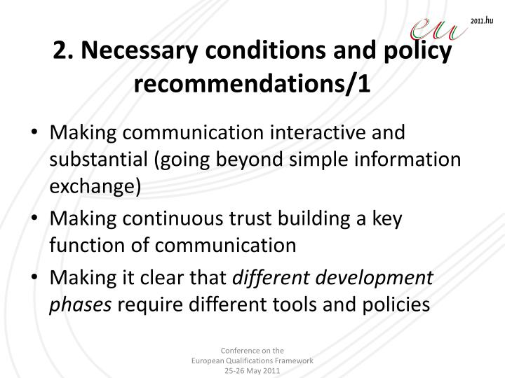 2. Necessary conditions and policy recommendations/1