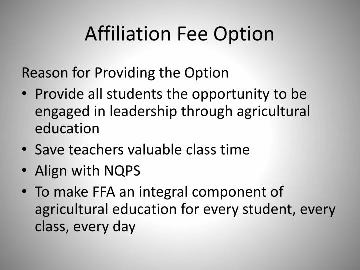 Affiliation Fee Option