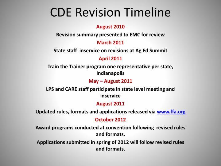 CDE Revision Timeline