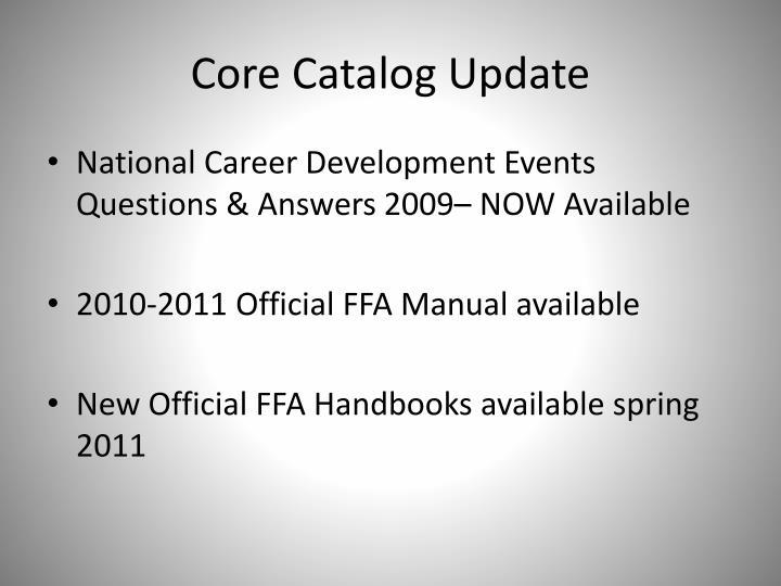 Core Catalog Update