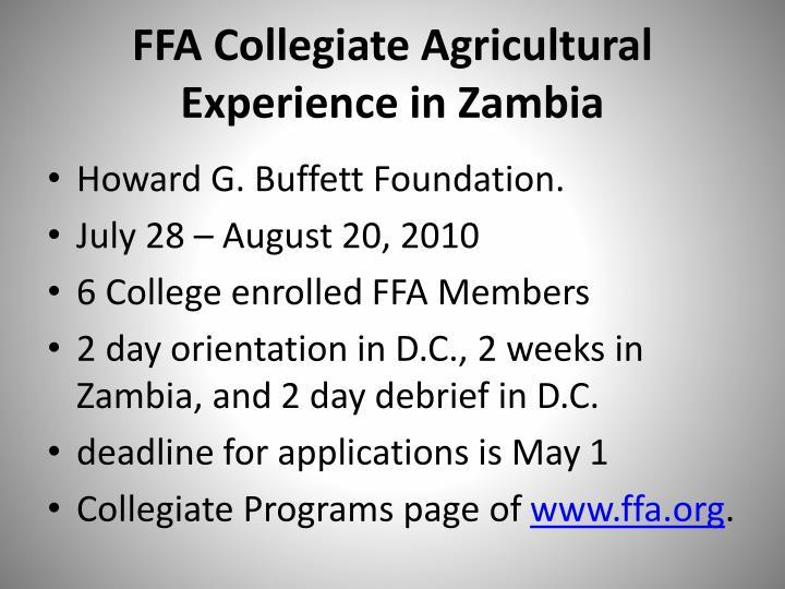 FFA Collegiate Agricultural Experience in Zambia