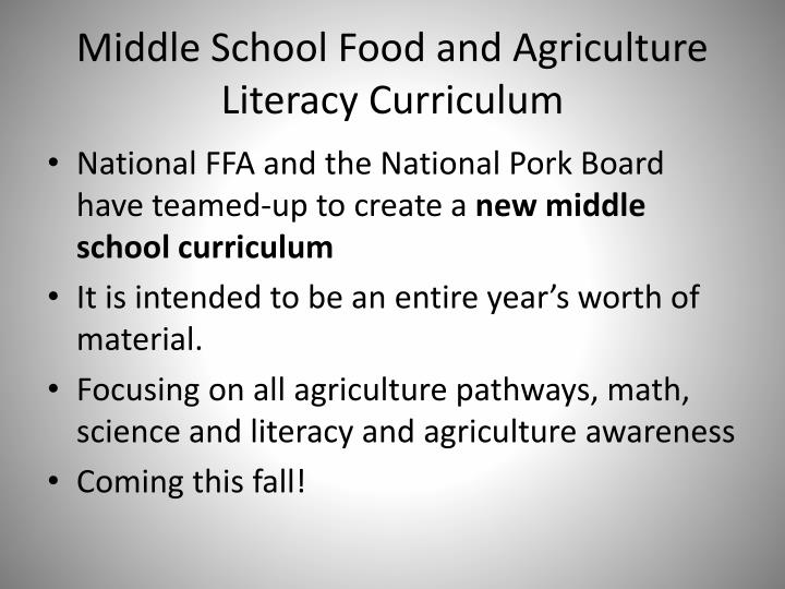 Middle School Food and Agriculture Literacy Curriculum
