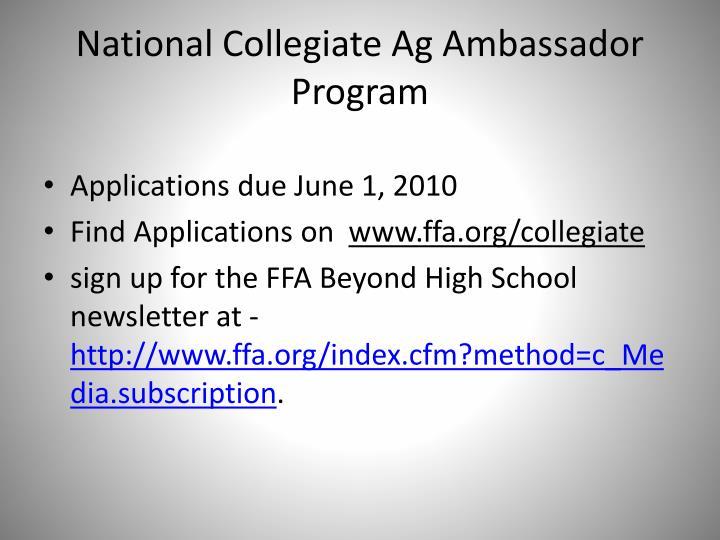 National Collegiate Ag Ambassador Program