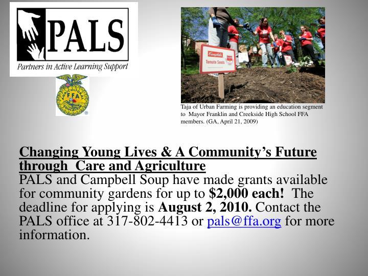Taja of Urban Farming is providing an education segment to  Mayor Franklin and Creekside High School FFA members. (GA, April 21, 2009)