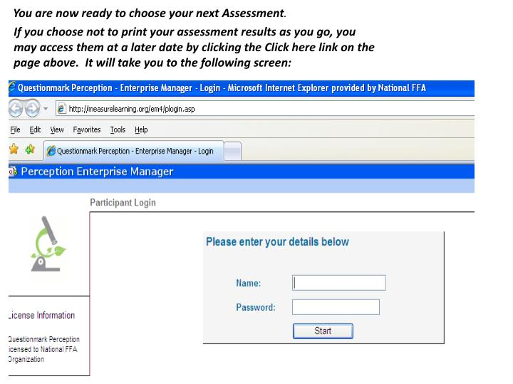 You are now ready to choose your next Assessment