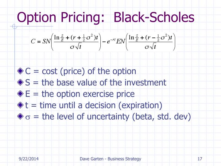 Option Pricing:  Black-Scholes