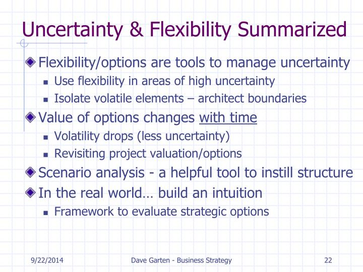 Uncertainty & Flexibility Summarized