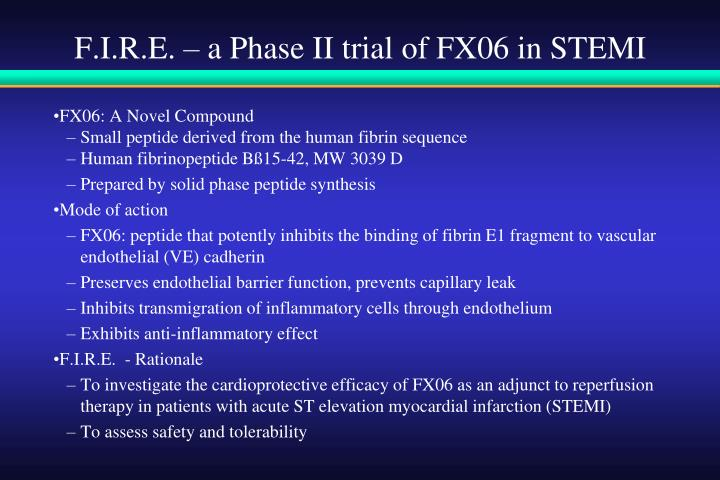 F.I.R.E. – a Phase II trial of FX06 in STEMI