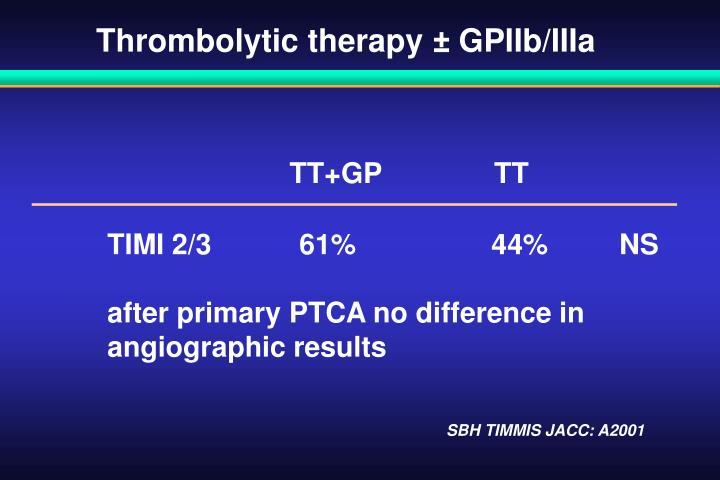 Thrombolytic therapy ± GPIIb/IIIa