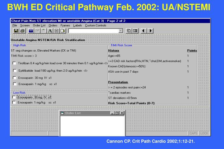 BWH ED Critical Pathway Feb. 2002: UA/NSTEMI