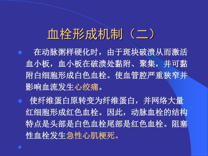 血栓形成机制(二)
