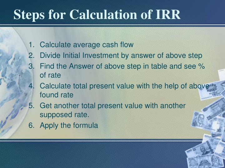 Steps for Calculation of IRR