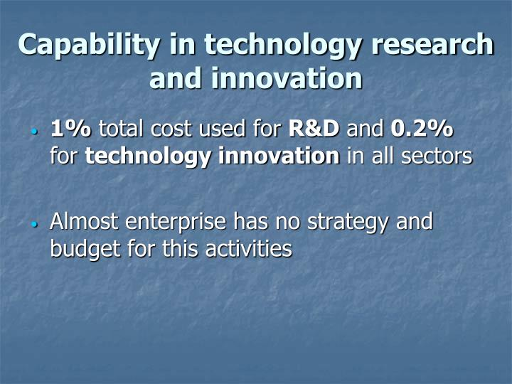 Capability in technology research and innovation