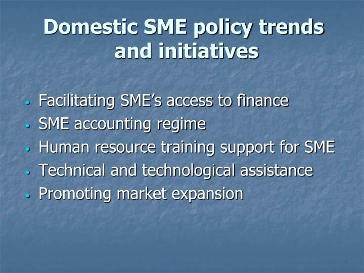 Domestic SME policy trends