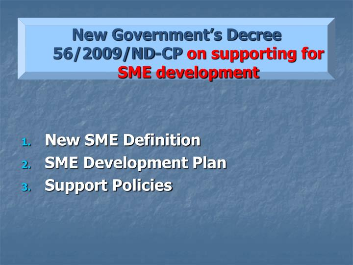 New Government's Decree 56/2009/ND-CP