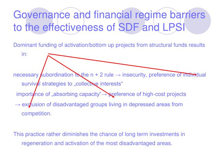 Governance and financial regime barriers to