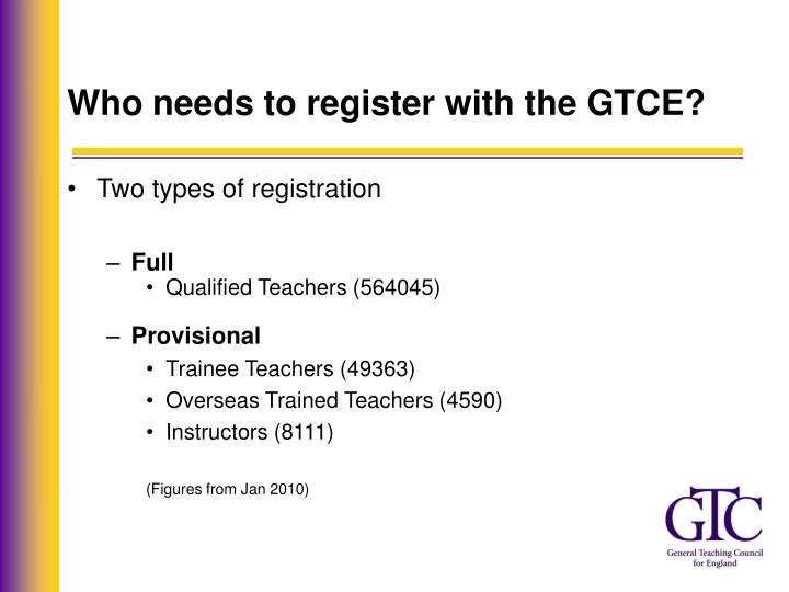 Who needs to register with the GTCE?