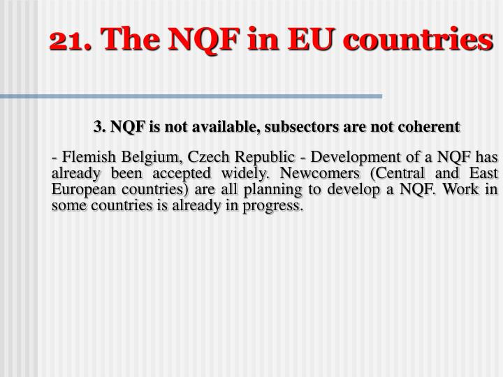 21. The NQF in EU countries