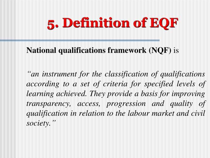 5. Definition of EQF