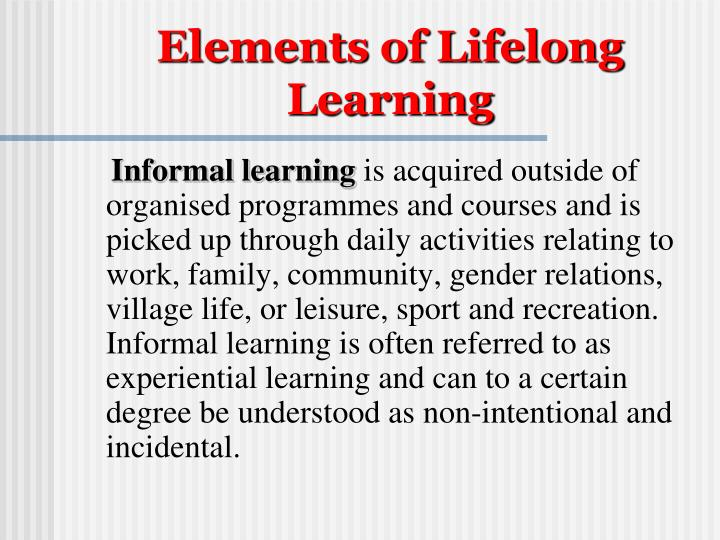Elements of Lifelong Learning