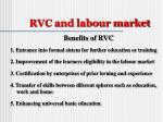 rvc and labour market