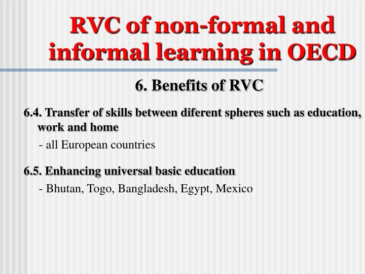 RVC of non-formal and informal learning in OECD