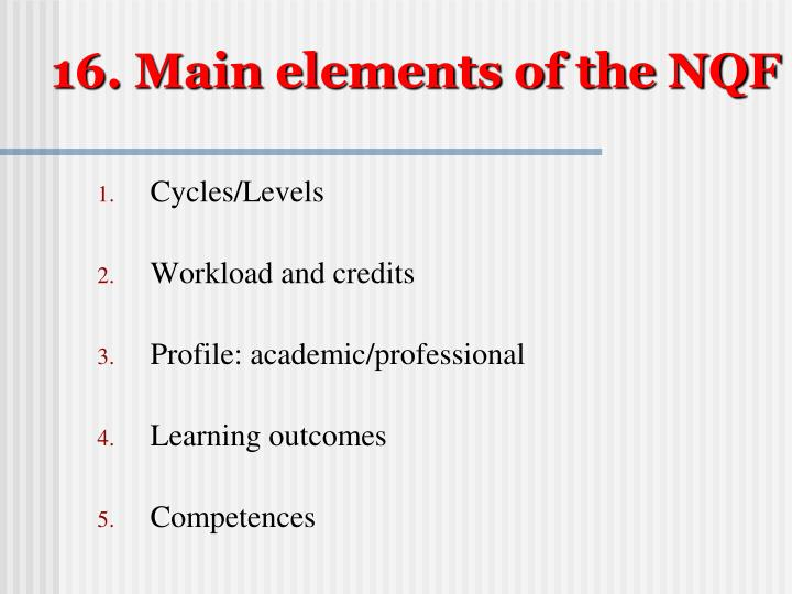 16. Main elements of the NQF