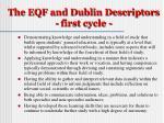 the eqf and dublin descriptors first cycle