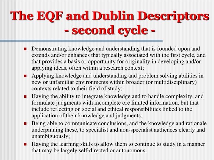 The EQF and Dublin Descriptors