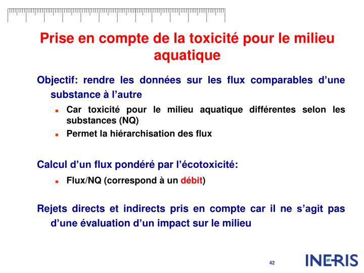Prise en compte de la toxicité pour le milieu aquatique