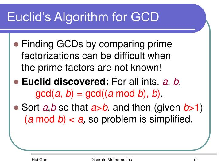 Euclid's Algorithm for GCD
