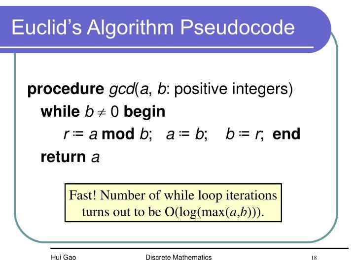 Euclid's Algorithm Pseudocode